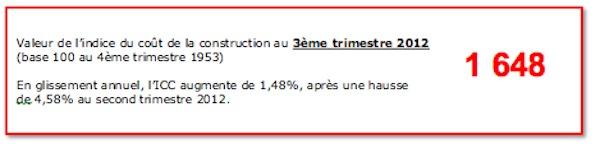 indice cout construction 2012 - Arthur Loyd Orléans ICC T3 2012